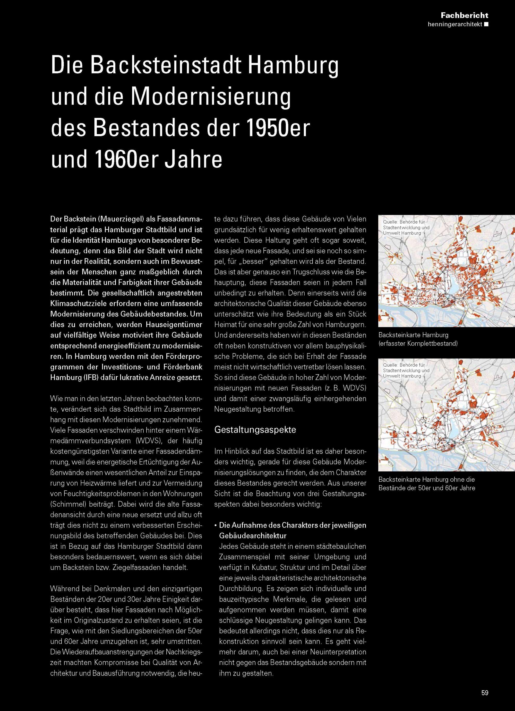 Die Backsteinstadt Hamburg und die Modernisierung des Bestandes der 1950er und 1960er Jahre